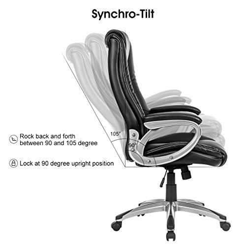 LANGRIA High-Back Executive Office Chair Black Faux Leather Computer Chair, Modern and Ergonomic Design, Well-Padded Armrests, Adjustable Seat Height, Knee Tilt Mechanism, 360 Degree Swivel, LROC-7263 Photo #4