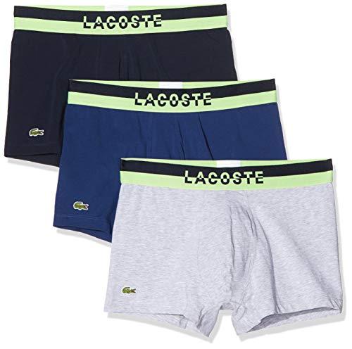 Lacoste Pack De 3 Boxer Courts, Multicolor (Marine/Argent