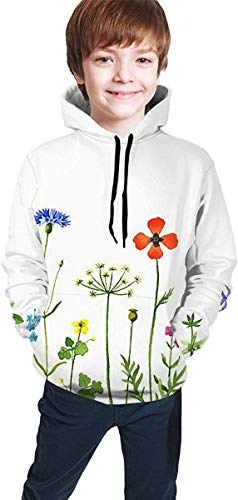Jugend Kapuzenpullover Jungen Mädchen Kids 3D Print Wildflowers Clipart Pullover Hoodies Hooded Sweatshirts Tops Blouse with Pocket