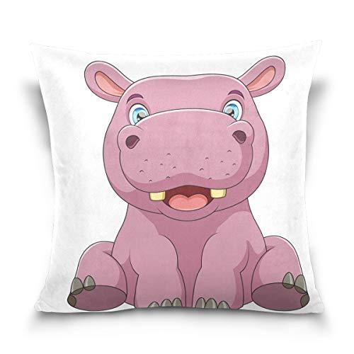 hengpai Baby-Hippo Square Pillow Cases Decorative Pillow Cover Cotton Velvet for Couch Safa