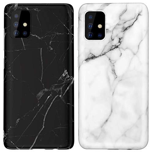 KARELIFE 2 Stück für Samsung Galaxy A71 Hülle Marmor Silikon Matt, Weich Kratzfest Handyhülle Flexible TPU Bumper Dünn Schutzhülle für Samsung A71 4G - Schwarz, Weiß