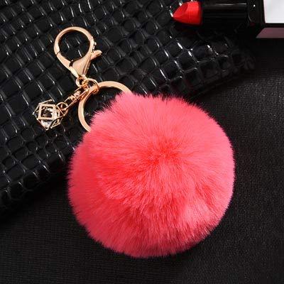HAILI Schmuckstück Flauschige künstliche Kaninchenfell Ball Schlüsselanhänger Pompons Schlüsselbund Frauen Autotasche Schlüsselring Schmuck, Wassermelone