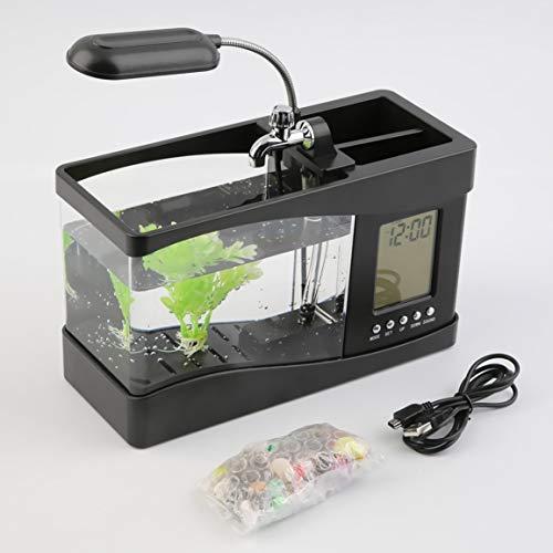 Garciayia populaire USB mini-vis-tank-klok met LCD-timer, LED-licht, zwart licht
