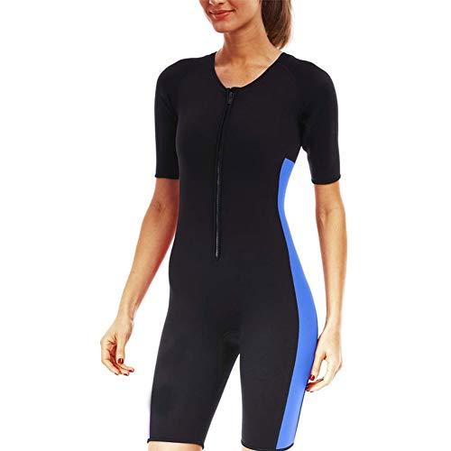 Damen Ganzkörper-Saunaanzug Neopren Abnehmen Heißen Shapewear Schwitzanzug Ärmeln Sweat Body Mit Reißverschluss Für Gewichtsverlust (Color : Blue, Size : M)