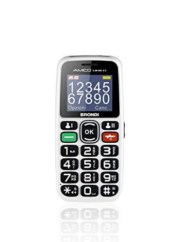 Brondi Amico Unico, Telefono cellulare GSM per anziani con tasti grandi, tasto SOS e funzione da remoto, dual SIM, volume alto, Bianco