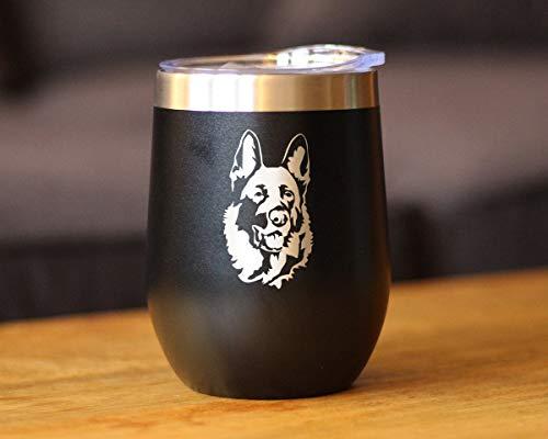 Vaso de vino aislado con tapa deslizante, cara de pastor alemán, bonitos regalos para los amantes de los perros con pastores alemanes, 12 onzas