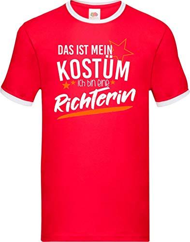 Shirtinstyle Luchador Camiseta Carnaval Verkleidet como Juez Disfraz De Carnaval Revestimiento, S-XXL - rojo-blanco, S