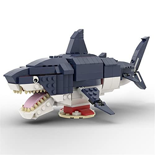 HARTI Juego de ladrillos de construcción para niños, Megalodon de la serie del mar profundo gran tiburón blanco vida marina montado bloques de construcción kits educativos regalo de juguete individual