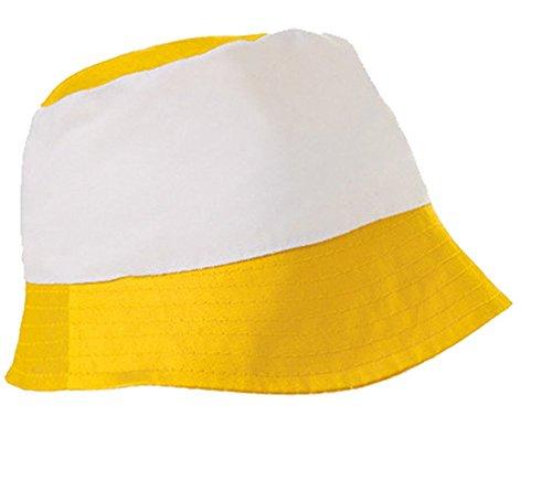 Textildruck Plauen Sonnenhut Fischerhut Hut Malerhut Anglerhut Deckel Mütze Neu Baumwolle Fussball viele Farben (Yellow/White)