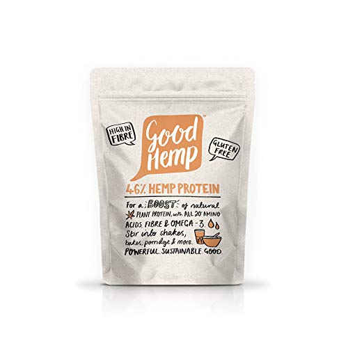Good Hemp 45% Protein Natural Energy Booster Unflavoured Powder Shake Drink Nutritional Unrefined Omega 3&6 Amino Acid Malnutrition GrowthMaintenance Pure Muscle Building Supplements 500g (Pack of 4)