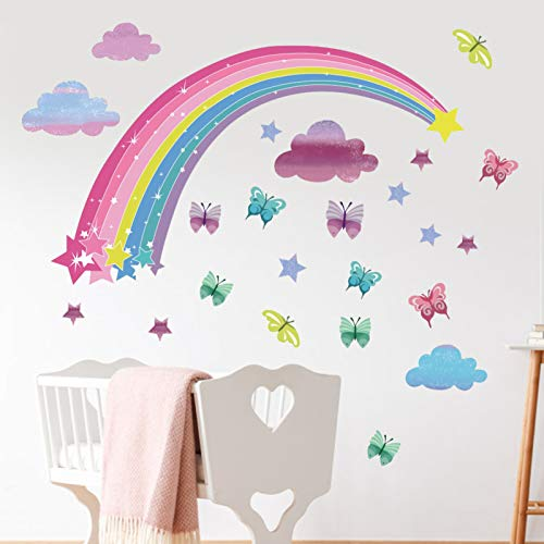 Little Deco Wandtattoo Babyzimmer, Regenbogen Schmetterling PVC Wandaufkleber, 56Cm * 33Cm Wandsticker Kinder Wandtattoo Kinderzimmer Baby Deko Babyzimmer