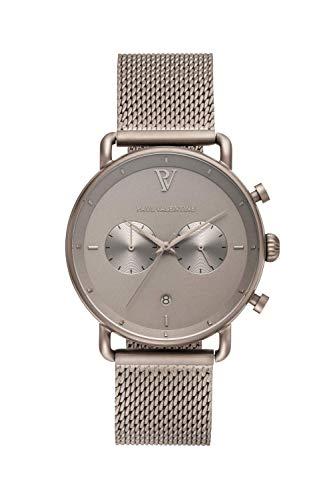 PAUL VALENTINE ® Herrenuhr mit Mesh Armband aus hochwertigem Edelstahl - Mit Saphirglas - 40 mm Durchmesser - Edle Herren Uhr mit japanischem Quarzwerk - Armbanduhr für Herren (Deserta)