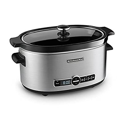 KitchenAid Refurbished 6-Quart Slow Cooker with Glass Lid   Stainless Steel (Renewed)