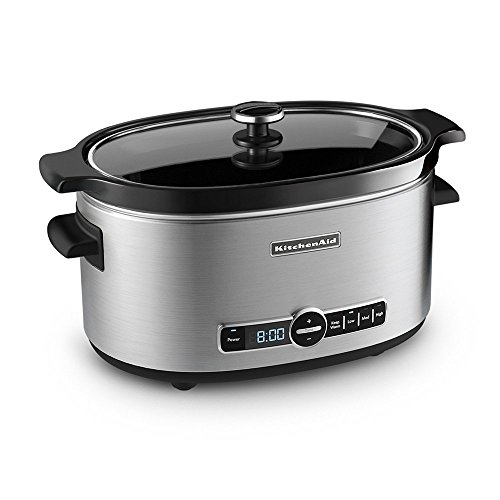 KitchenAid Refurbished 6-Quart Slow Cooker with Glass Lid | Stainless Steel (Renewed)