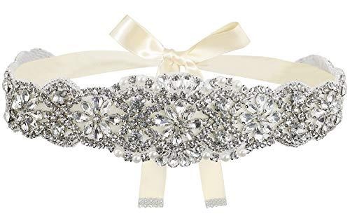 Lovful Bridal Crystal Rhinestone Braided Wedding Dress Sash Belt,Champagne Sash,One Size