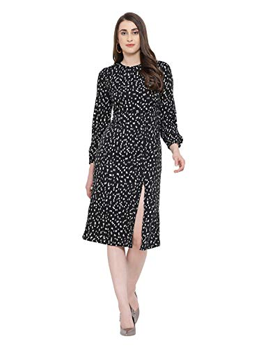 oxolloxo Women's Round Neck Polyester Long Sleeve Graphic Slit Dress...