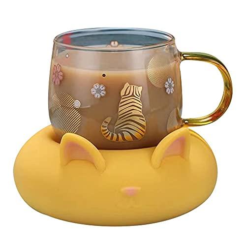 XDYNJYNL Lujosa taza de cristal de 9.13oz / 270ml, conjunto de platillos de gato, tazas de leche pintadas a mano capuchino tazas tazas de tazas con mango aislado tazas de smoothie taza de desayuno gaf