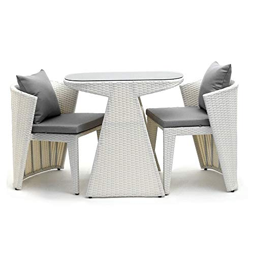 costick ラタン調ガーデンテーブル3点セット ガーデン テーブル チェア収納可能 コンパクト (ホワイト)