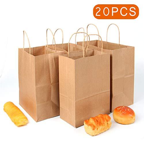 20 bruine papieren draagtassen met platte hengsels binnen, recyclebaar en herbruikbaar, met gedraaide handgrepen kracht bruin 02,28 x 28 x 15 cm.