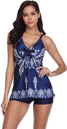 Urban Virgin Womens 2 Piece Bikini Spaghetti Strap Printed Padded Tank Top Tankini Swimsuits for Women Blue XXL(US:16-18)