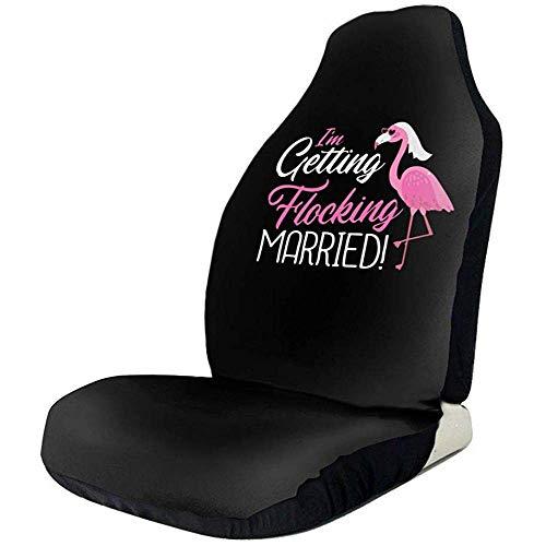 Fundas de asiento para fanáticos de los deportes Me estoy reuniendo Casado Pink Flamingo Bride Fundas de asientos delanteros para el automóvil para mujeres Conjunto de ajuste La mayoría del vehículo