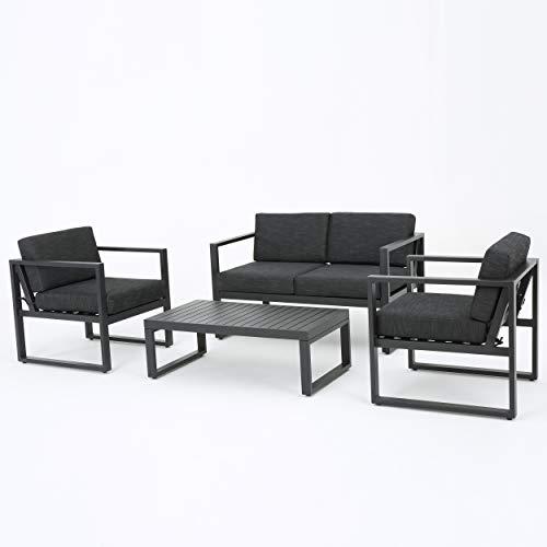 GDF Studio Nealie Patio Furniture ~ 4 Piece Outdoor Aluminum Chat Set