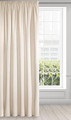 Eurofirany Ria Cortina Suave de Terciopelo con Cinta fruncidora, 1 Unidad. Elegante, Glamour Dormitorio, salón, Beige Claro, 140 x 270 cm