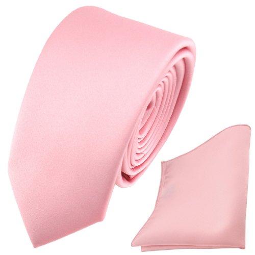TigerTie schmale Satin Krawatte + Einstecktuch rosa Uni - Schlips Binder