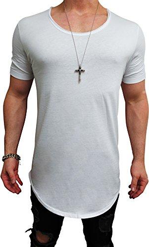 Deep Shirt Basic Oversize Style Shirt Deep Longshirt Long Hoody Sommer Herren Sweatshirt NEU Sweater Pullover langes Longsleeve m Kapuzenpullover Langarm Jeans Sweat-Jacke top Pulli (M, Weiß - deep²)