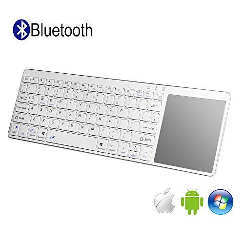 Alitoo Tastiera Wireless, Bluetooth Tastiera con Touchpad Tastiera Senza Fili con Tasti QWERTY Portatile Ultra-Sottile Keyboard per iPad, PC, Windows, Android, Tablet, Computer, Laptop(Argento)