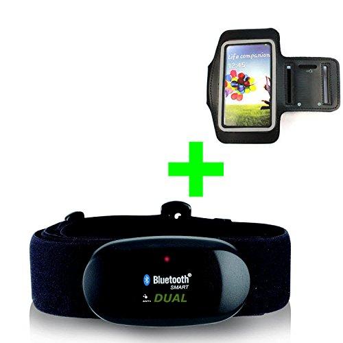 GO-SHOPPING24 Correa de pecho Bluetooth 4.0 y ANT + pulsera para Android como Samsung S3 / S4 / S5 / S6 / S7 / S8 / S9 / S10, Sony, LG, HTC, Google pulsómetro para RUNTASTIC, Wahoo, Strava App ✅