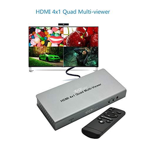 XOLORspace TW02 1080p HDMI 4x1 quad multi-viewer 4x1 HDMI switch PIP con 5 modalità di visualizzazione senza soluzione di continuità quando utilizzato come commutatore HDMI 4x1