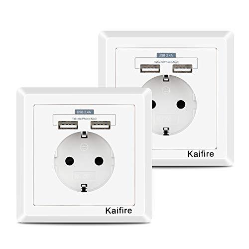 2 X USB Steckdosen 2.4A, Kaifire Schutzkontakt Steckdosen mit 2 USB Anschluss Unterputz Schuko Wandsteckdose mit Kindersicherung, Laden Smartphone Tablet MP3 (2 Pack)