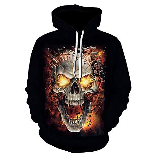 RITIOA Sudadera unisex con capucha con estampado 3D, diseño de monstruo de esqueleto de Halloween, disfraces, fiestas, con bolsillos con cordón y bolsillos de manga larga
