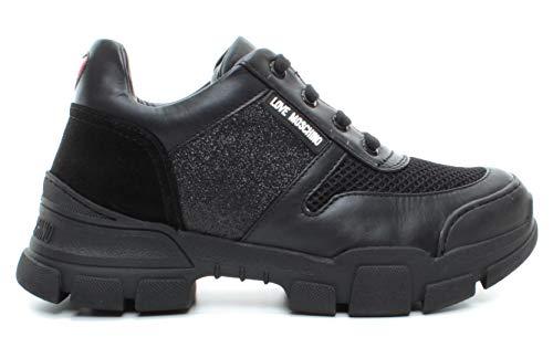 Love Moschino Sneakers Femme JA15664 Gli Cro Ne Cuir Noir