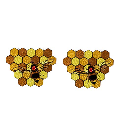 Bee Stained Organic Glass Sign Front Door Bee Welcome Decor,Bee Hive Ornaments Bee Suncatcher Hanging Decoration Bee Honeycomb Traditional Stained Glass Pendant (B)