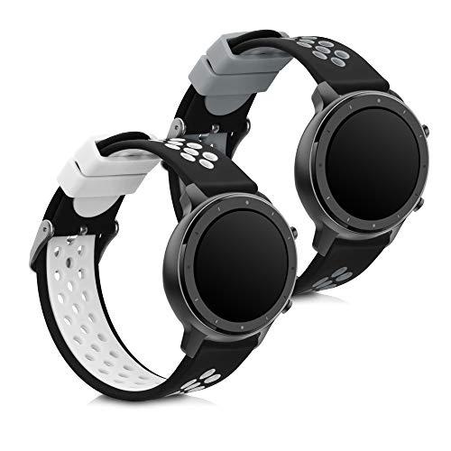 kwmobile Pulsera Compatible con Huawei Watch GT (46mm) - 2X Correa de TPU para Reloj Inteligente - Negro/Gris/Negro/Blanco