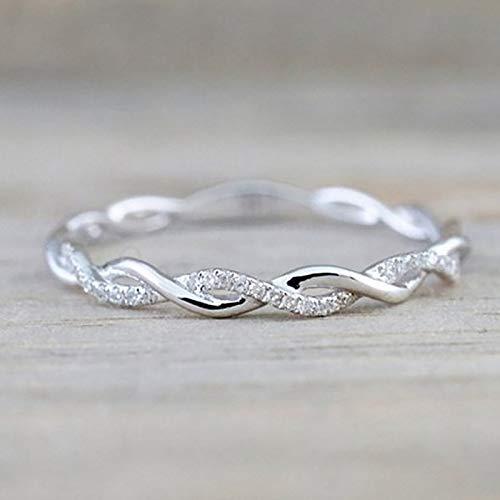 Simsly Anillo giratorio de plata maciza chapado en oro de 18 quilates con circonitas trenzadas, anillo de diamantes trenzados, joyería de fiesta de boda para mujeres y niñas (tamaño 5-10) (8, plata)