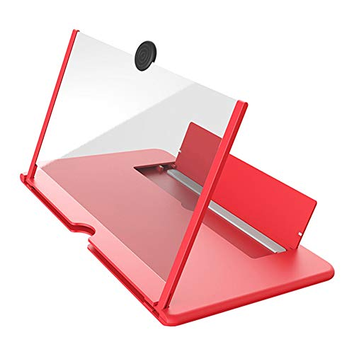 YASE-king 12 inch 3D Mobile Phone Screen Magnifier HD Video Amplifier with Foldable Holder Magnifying Glass Smart Phone Stand Bracket (Color : Red, Size : 10 inch)