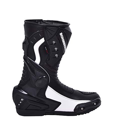 Bohmberg Herren Motorradstiefel, Sportstiefel aus Leder, Motorradschuhe Wasserdicht aus stabilem Leder mit aufgesetzten Hartschalenprotektoren,Schwarz-Weiß Gr.44