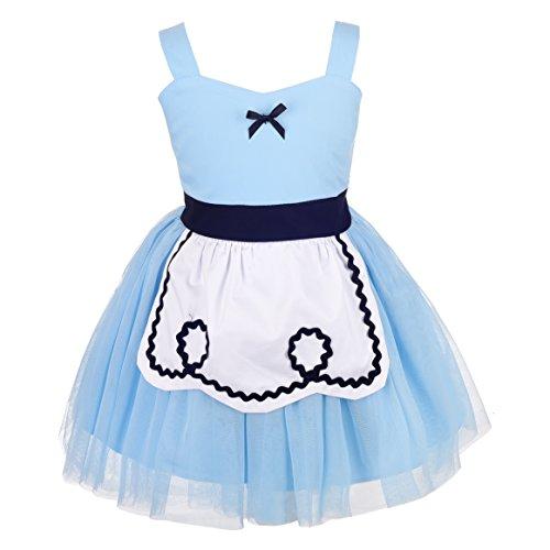 Lito Angels Deguisement Robe Tulle Princesse Alice au Pays des Merveilles avec Tablier Blanc Enfants Filles Costume Halloween Fête d'été Anniversaire Cosplay Carnaval Bleu Taille 3-4 Ans
