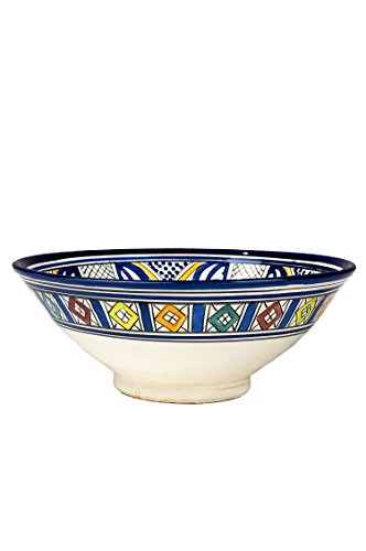 Orientalische Keramikschale Keramikteller Rund Amsah Ø 30cm Groß | farbige marokkanische Keramik Schale Teller bunt aus Marokko | Orient große Keramikschalen flach Geschirr orientalisch handbemalt