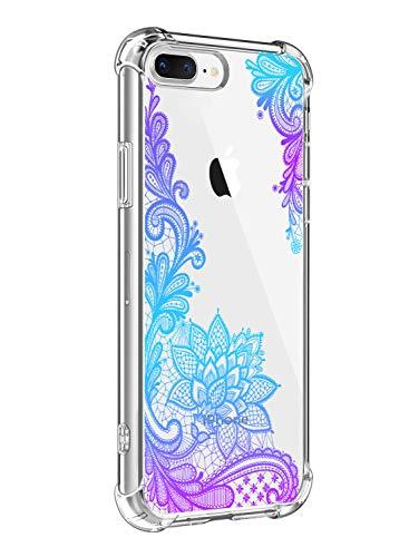 Suhctup Funda Compatible con iPhone 6/6S Carcasa Transparente,Dibujo Diseño Flor [Protección Caídas] Ultra-Delgado Flexible Silicona TPU Estuche Cover para iPhone 6/6S,Mandala 8
