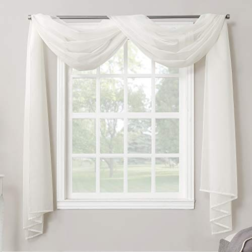 No. 918 Emily Sheer Voile Rod Pocket Curtain Panel, Valance Scarf, Eggshell