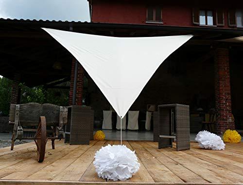 PEGANE Voile d'ombrage Triangulaire en Polyester Coloris Blanc - Dim : 500 x 500 x 500 cm