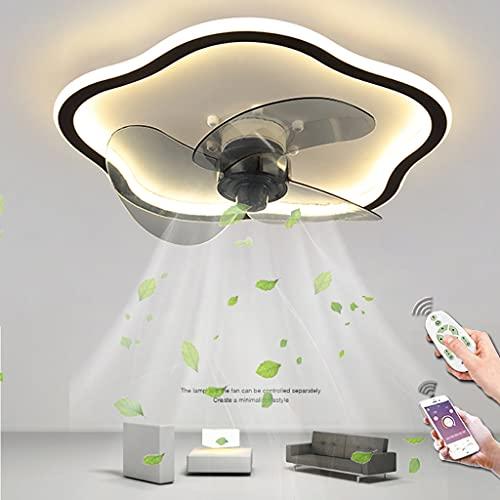 Ventilador De Techo Con Iluminación LED Moderno Luz De Techo Regulable Control Remoto Ventilador Lámpara De Techo Para Dormitorio Sala De Estar Comedor Habitación Infantil Lámpara Colgante (Flower)