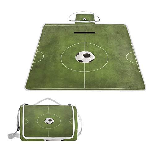 DragonSwordlinsu Coosun Picknickdecke im Fußball-Design, praktische Matte, schimmelresistent und wasserdicht, für Picknicks, Strand, Wandern, Reisen, Reisen und Ausflüge