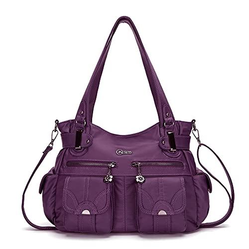 KL928 Tasche Damen Handtasche Umhängetaschen Damenhandtasche Schultertasche Lederhandtasche elegante Taschen hand taschen Henkeltaschen für frauen mit vielen fächern (Lila)