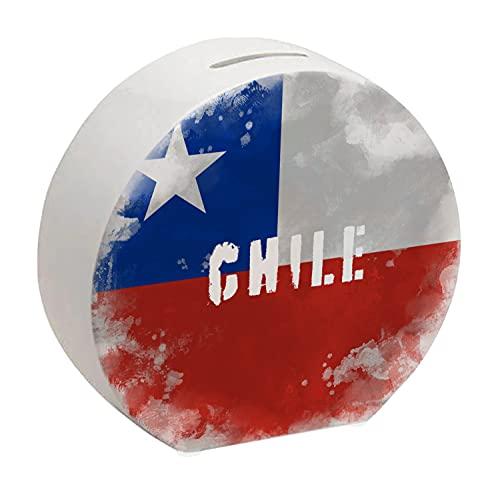 Spardose mit Chile-Flagge im Used Erscheinungsbild - Sparschwein für Urlauber eine schöne Sparbüchse mit der chilenischen Nationalflagge verziert um auf die Reise nach Chile zu sparen