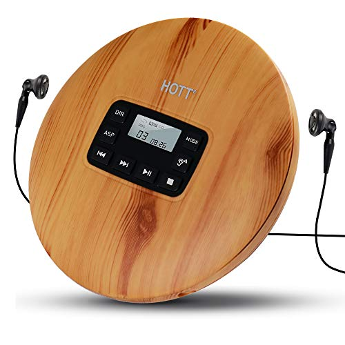 HOTT CD611 Portable CD Player for Home Travel and car with Stereo Headphones, Anti-Shock- Light Wood Grain